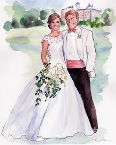 New York City based artist Inslee Fariss creates watercolor illustrations for weddings, events, brands and fine art commissions Wedding Prints, Wedding Art, Wedding Images, Wedding Bride, Wedding Day Cards, Wedding Anniversary Cards, Wedding Illustration, Couple Illustration, Antique Wedding Dresses