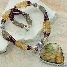Labradorite and Garnet Neclace | KejaJewelry - Jewelry on ArtFire