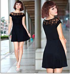 V-Neck Embroidered Lace Mini Dress Embroidered Lace, V Neck, Skinny, Crop Tops, Mini, Black, October, Dresses, Fashion