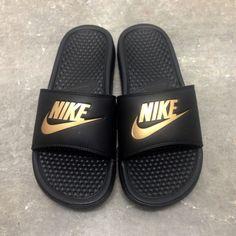 Womens Benassi JDI Swoosh Slide Sandals from Finish Line - Nike Benassi - Latest & trending Nike Benassi - Nike Shoes Nike Slides For Girls, Gold Nike Slides, Nike Gold, Nike Slides Mens, Sock Shoes, Cute Shoes, Me Too Shoes, Shoe Boots, Nike Benassi Slides