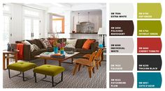 """Chip It! by Sherwin-Williams – House of Turquoise living room  """"Hep Green"""" is the lime green I'm looking for!!"""