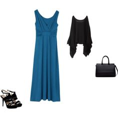 """""""Deep Winter - teal with black"""" by adriana-cizikova on Polyvore"""