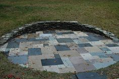 Patio made from scraps of granite counter tops