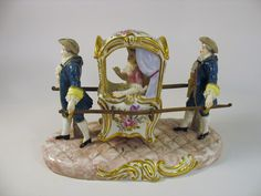 Antique porcelain Dresden lace figure-Lady in carried Sedan chair: Removed Dresden Porcelain, Fine Porcelain, Porcelain Ceramics, Dresden Dolls, Dresden China, Flower Holder, Lost Art, Royal Doulton, Organic Shapes
