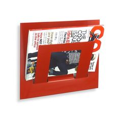 Wall Mounted Single Tier Magazine Rack Red by TheMetalHouse