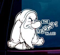 Disney Parks Grumpy Vinyl Window Sticker Decal Car Vehicle WDW DLR Snow White