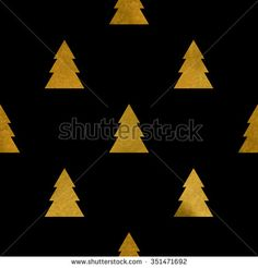 Christmas pattern with golden fir-tree on black. Background for invitation card or holiday decor. Vector texture for wallpaper, wrapping, textile.
