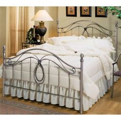 Hillsdale Furniture 167BK Milano King Bed Set in Antique Pewter Rails Not Included