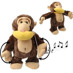 [USD8.70] [EUR8.29] [GBP6.51] Funny Monkey & Banana Plush Toy with Action & Sound Effect for Children