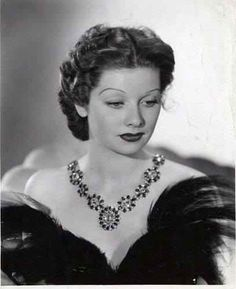 Lucille Ball, circa 1940. Wearing Joseff of Hollywood jewelry.  See beautiful pics like this in soon to be released Joseff of Hollywood book...  Pre-order Joseff of Hollywood: Putting the Tinsel in Tinseltown  By Michele Joseff www.joseffofhollywoodbook.com