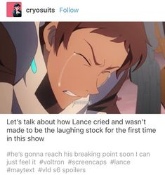 that pissed me off so much last season and this was the only other emotion lance showed this season besides being in love with Allura. thats the tea