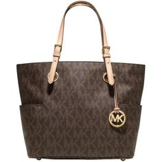 MICHAEL Michael Kors Jet Set Signature Tote Bag , Brown (12.315 RUB) ❤ liked on Polyvore featuring bags, handbags, tote bags, brown, brown tote bags, pocket tote bag, logo tote bags, handbags totes and travel tote