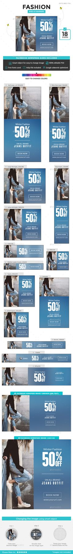 Fashion Sale Banners  — PSD Template #gif banner #clothing • Download ➝ https://graphicriver.net/item/fashion-sale-banners/18416423?ref=pxcr