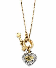 Juicy Couture Necklace, Gold-Tone Pave Heart Pendant Necklace love this it is only $48.