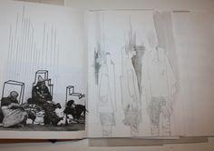 Fashion Sketchbook - fashion sketches & architecture research; Sketchbook Layout, Sketchbook Inspiration, Sketchbook Ideas, Fashion Sketchbook, Fashion Sketches, Fashion Illustrations, Fashion Design Portfolio, Central Saint Martins, Creative Journal