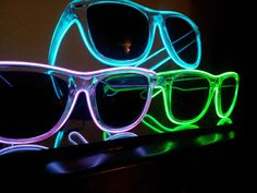 3 Light up sunglasses rave glasses diffraction by MoxieGlares, $120.00
