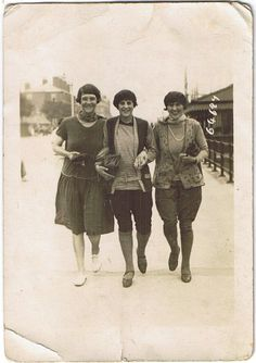 Old photo of three happy young women 1929. Notice the interesting casual clothes :)