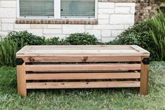 Learn how to build a DIY outdoor storage ottoman and cocktail table with Simpson Strong-Tie Outdoor Accents. Free building plans by Jen Woodhouse.