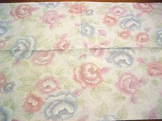 Vintage Pink Purple Lavender Roses Design Standard Size Cotton Blend Pillowcase