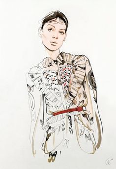 Nuna DaCosta. London Illustrator. Week 4 Eduardo. Coloured pencil. Very intricate and detailed line work that creates a very realistic garment pattern. I find the skin tone that bleeds into the garment very interesting. The pose and style is very delicate and has soft aesthetic.