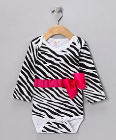 Zebra Bow Bodysuit - Infant by Sparkle Couture on #zulily today!