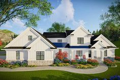 Find your dream modern-farmhouse style house plan such as Plan which is a 3205 sq ft, 4 bed, 4 bath home with 3 garage stalls from Monster House Plans. Porch House Plans, Rustic House Plans, Garage House Plans, House With Porch, Country House Plans, New House Plans, Build House, Car Garage, Modern Farmhouse Exterior