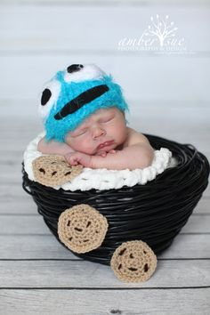 Newborn Cookie Monster Crochet Baby Hat Prop. $25.00, via Etsy.