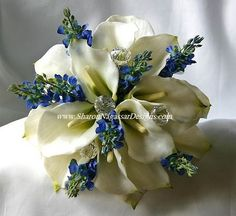 Flowers, White, Blue, Wedding, Lily, Calla, Silver, Sharon nagassar designs, Lupines