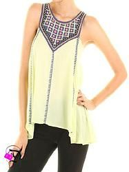 Lime and Navy Embroidered Sleeveless Top $37.99 Divalicious