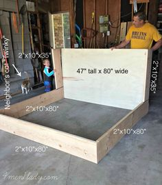 """You've been asking and asking for our Upholstered wing bed """"tutorial"""" for over a month. There's a good explanation why we waited so long to post the """"tutorial"""". Diy King Bed Frame, Upholstered Bed Frame, Diy King Headboard, Bed Design, Home Design, Upolstered Bed, Diy Bedframe With Storage, Diy Bett, Diy Wings"""
