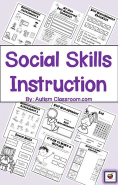 Ideas for teaching social skills to students with limited handwriting. Many cut and paste activities. Covers: Self-Management, Emotions, Self-Awareness, and Communicating with Others. #socialskills #autism #autismclassroom Pinned by https://www.pinterest.com/autismclassroom #homeschoolingautism
