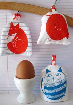make egg cosies tea towel by The Black Rabbit
