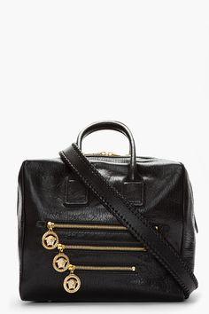 VERSACE/ Black caravaggio leather cube tote