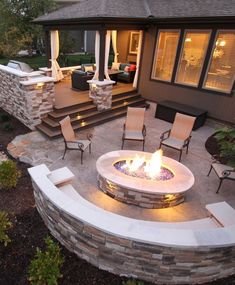 Lower deck to patio that matches upper deck. Features Include: – composite deck – stone grilling station – stamped concrete patio – curved stone bench – gas fire pit with fire glass Backyard Patio Designs, Backyard Landscaping, Backyard Seating, Diy Patio, Landscaping Ideas, Outdoor Seating, Backyard Layout, Cozy Backyard, Backyard Porch Ideas