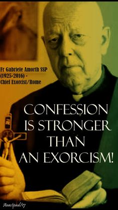 """Confession is stronger than an exorcism! Catholic Doctrine, Catholic Religion, Catholic Prayers, Catholic Saints, Roman Catholic, Catholic Bible, Christianity, Catholic Memes, Saint Quotes"