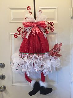 Christmas Deco-Mesh Wreath/ Santa Wreath/ by DoorWreathBoutique
