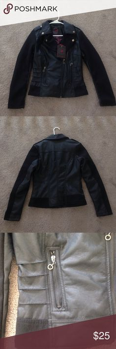 Black leather jacket- size medium Brand new with tags. Faux black leather jacket. Never been worn. Jackets & Coats