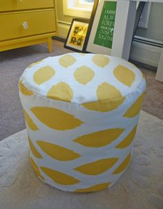 Click Pic for 16 DIY Floor Cushions - Funky Yellow Ottoman for Less Than $10 - DIY Floor Pillows & Poufs