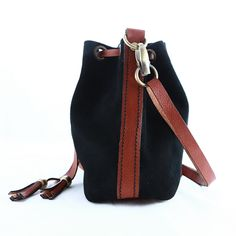 Black Roller Bag - Leather and suede shoulder/cross body bag.