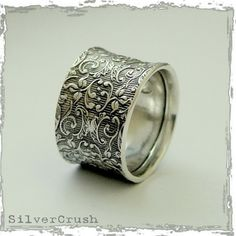 Wedding band Sterling silver band woodland ring by artisanlook, $106.00