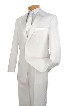 WEDDING SUITS FOR MEN VINCI SUITS MEN'S CLASSIC TUXEDO COLLECTION IN WHITE TWO BUTTON DESIGN