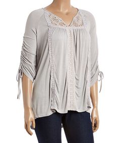Another great find on #zulily! Gray Lace Notch Neck Tunic -Plus #zulilyfinds