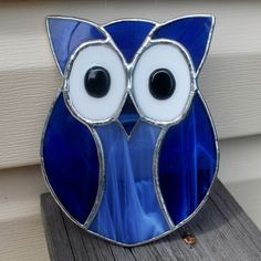 Blue Owl Stained Glass Suncatcher by GoodGriefGlass on Etsy