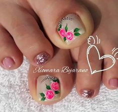 Print Tattoos, Pedicure, Nails, Beauty, Designed Nails, Dibujo, Long Nail Art, Simple Toe Nails, Pretty Toe Nails