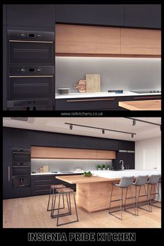 Morden Kitchen Design, New Kitchen Designs, Luxury Kitchen Design, Kitchen Room Design, Home Decor Kitchen, Interior Design Living Room, Loft Kitchen, Family Kitchen, Appartement Design