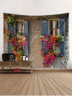 Tapisserie Murale Décorative à Imprimé Fleurs et Fenêtres