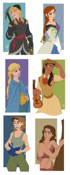 Disney Guys - Genderbend by juliajm15.deviantart.com on @deviantART - Genderbent versions of Kristoff, Hans, Phoebus (I LOVE how she turned out here!), Naveen, Milo Thatch, and Tarzan