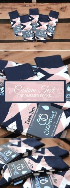 These Peach and Navy Custom Groomsmen Socks are the perfect accessory to complement your wedding. These two all-time classics pair well with each other and with potential tertiary colors, making it easy to mix and match with several different suits and color schemes. Give your groomsmen a gift that's both fashionable and functionable -- peach and navy custom socks. Shop these peach and navy customized text groomsmen dress socks and more.