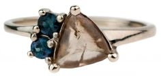 Macle Diamond with Sapphires Ring by Bario Neal
