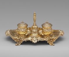 1753 Italian (Turin) Inkstand at the Metropolitan Museum of Art, New York - This inkstand does not just have an inkwell, but also includes a small shaker for sand, which would have been sprinkled on a newly-written text to help the ink dry more quickly.
